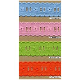 Fita bordada 05 - passa-fitas em azul, rosa, verde e laranja.