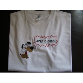 "T-shirt bordada ""Larga o osso"""