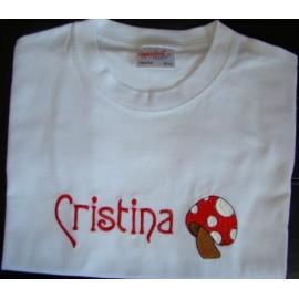 T-shirt - bordado Cogumelo (Cristina)