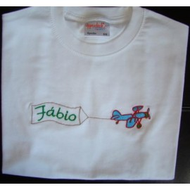 T-shirt - bordado avião (Fábio)