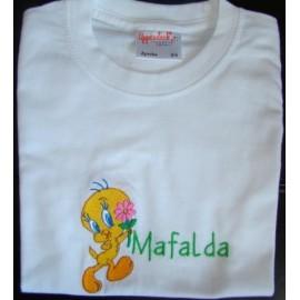 """T-shirt - bordado """"Tweety"""" (Mafalda)"""
